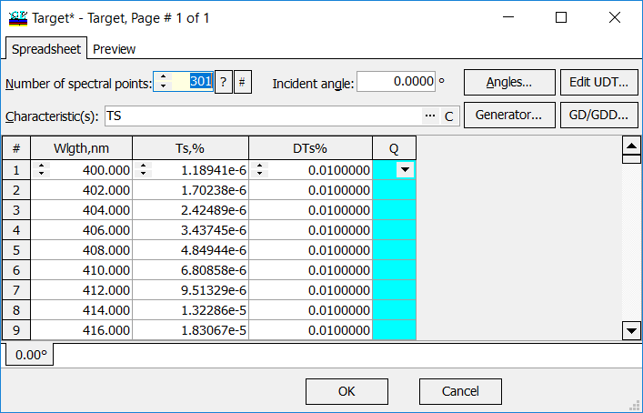 Import Excel Spreadsheet thin films